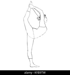 Outline figure woman doing stretching legs, split on