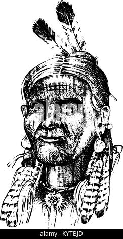 Native American Indian Chief Headdress Drawing Stock Photo