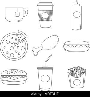 Junk food black and white logo collection isolated on