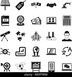 Academic degree icons set, simple style Stock Vector Art