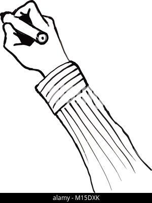 Black and White Cartoon Illustration of Writing Skills