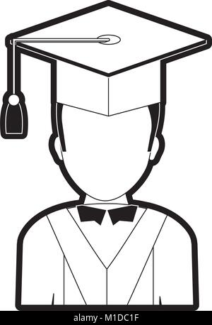 cartoon graduate woman with graduation gown and hat icon