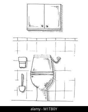 Hand drawn bathroom for design element and coloring book
