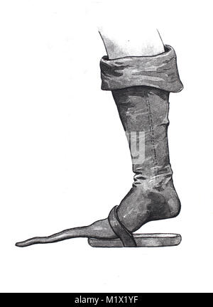 Shoe fashion from the Middle Ages, 1 crutch shoe, 2