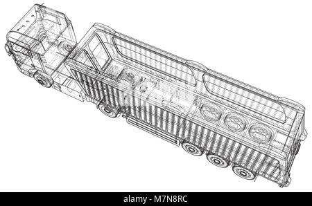 Tipper Dump Truck Isolated. Created illustration of 3d
