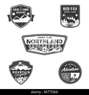 Travel badges, outdoor activity logo collection. Scout
