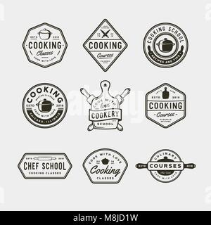 set of vintage cooking classes logos. retro styled