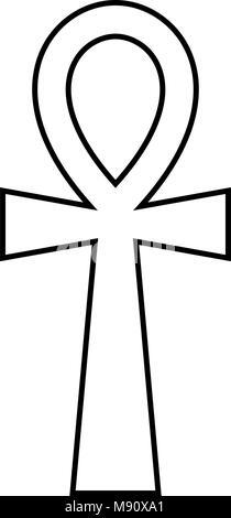 Coptic cross Ankh icon black color vector illustration