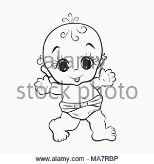Cheerful walking baby with big eyes, coloring Stock Photo
