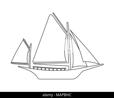 Business yacht icon. Flat illustration of business yacht