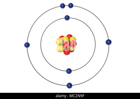3d render of atom structure of nitrogen isolated over