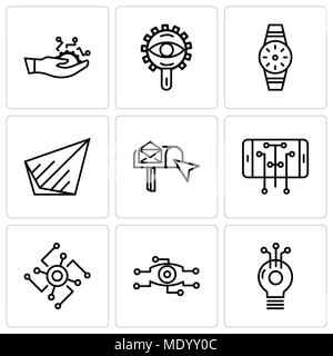 Set Of 9 simple editable icons such as Cpu, Card, Keyboard
