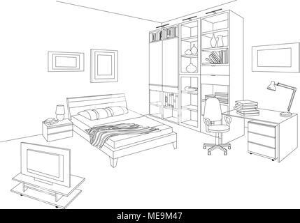 bookshelf furniture office outline Stock Vector Art