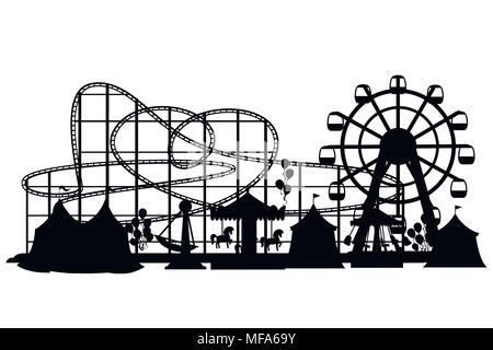 Amusement park. Cartoon style design. Roller coaster