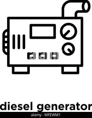 diesel generator vector icon isolated on transparent