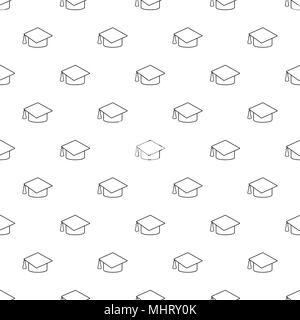 Graduation cap seamless pattern background icon. Business