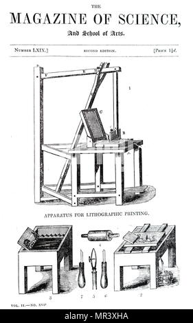 Illustration depicting a lithographic press. Johann Alois