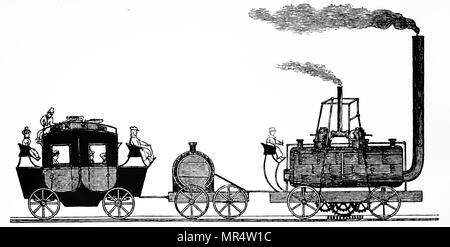 Illustration depicting the first steam railway in Austria