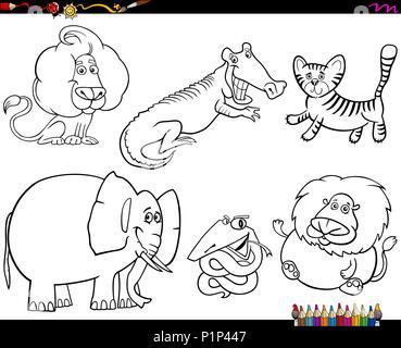 cartoon safari animals coloring page Stock Photo