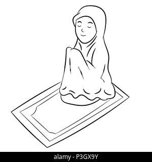 Muslim woman kneeling on prayer mat saying prayers, Jordan