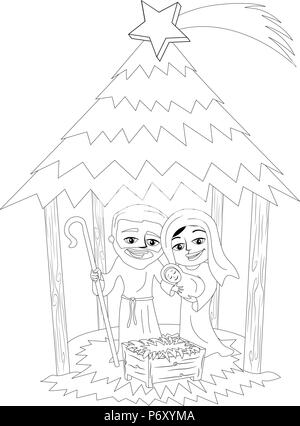 Cartoon Christmas Nativity Scene Coloring Stock Vector Art
