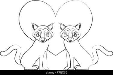 cute couple wolf animal in love heart vector illustration Stock Vector Image & Art Alamy