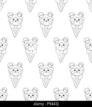 cute line drawing of a polar bear Stock Vector Art