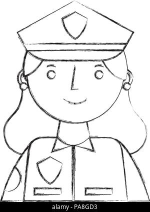Cute police officer cartoon in black and white Stock