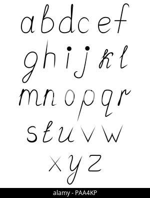 Handwritten calligraphy alphabet. Latin letters on black