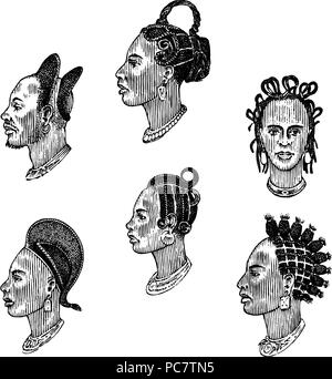 African national male hairstyles. Profile of a man with