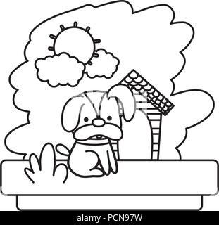 Cute kawaii dog cartoon line and fill style icon design
