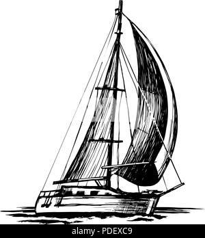 Hand drawn sketch of Boat isolated, Black and White