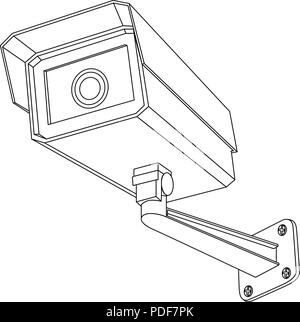 CCTV security camera. Outline drawing Stock Vector Art