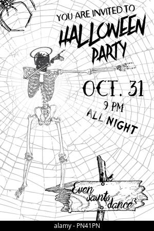 Dancing skeletons. Halloween banner template. Day of the