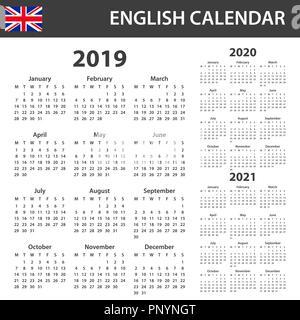 English calendar 2019-2020-2021 vector template text is