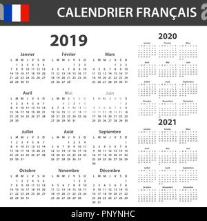French calendar 2019-2020-2021 vector template text is