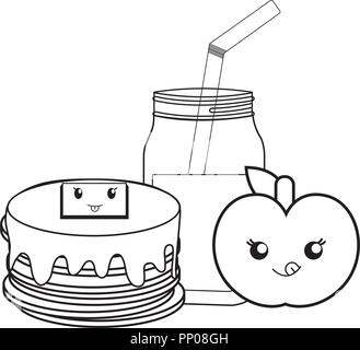 Cute cartoon apple fruit vector isolated on white