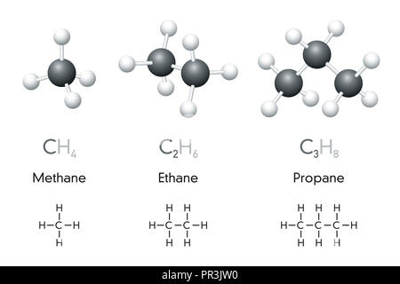 Methane. Molecular model of the alkane and hydrocarbon gas