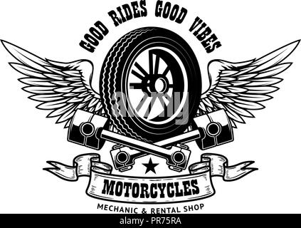 Good rides good vibes. Emblem template with winged wheel
