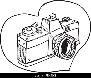 Photo camera vintage, engraved hand drawn in sketch or