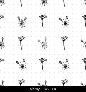 Simple seamless pattern with Realistic Botanical ink