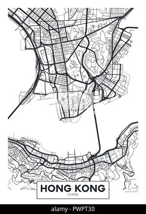 Vector detailed map Hong Kong detailed plan of the city