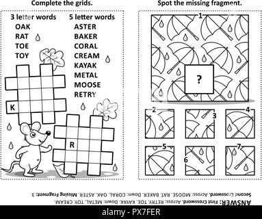 Puzzle page with criss-cross word game and whimsical faces