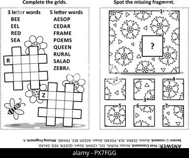Puzzle page with two word games (English language) for
