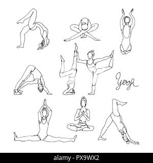 Fitness Girl Vector. Different Poses. Exercises For Fat