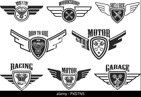 Racing emblems black Stock Vector Art & Illustration