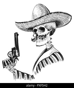 Skull cowboy drawing in a vintage retro woodcut etched or