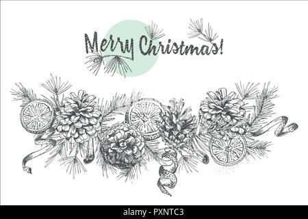 Christmas Garland Realistic Botanical Ink Sketch Of Fir
