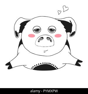 silhouette face cute pig animal farm icon Stock Vector Art