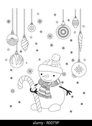 Christmas coloring page for kids and adults. Cute cat with